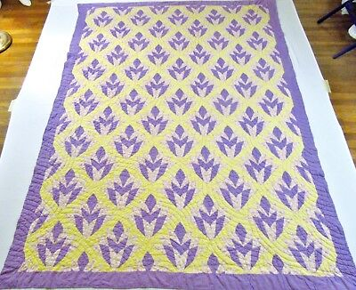 Antique 1930's Hand Stitched Feed Sack Purple Yellow Cleopatra's Fan Quilt 96x74