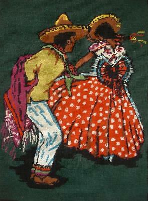 "VINTAGE MEXICAN DANCER completed cotton Needlepoint Tapestry 18.5""X13"""