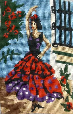 """Vintage S.E.G  France completed cotton needlepoint flamenco dancer 8.8""""x5.6"""""""