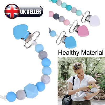 Baby Dummy Clip Holder Pacifier Clips Soother Chains Silicone Bead Teething