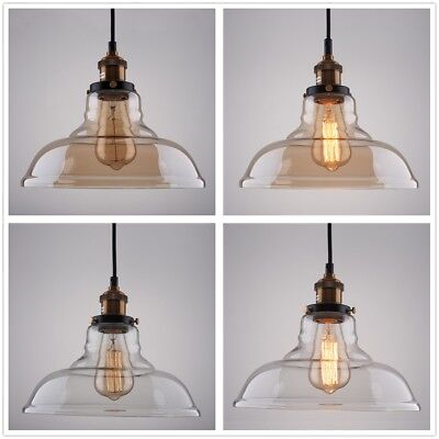 Vintage Smoked Glass Shade Chandelier Pendant Lamp Ceiling Home Pub Diner Light