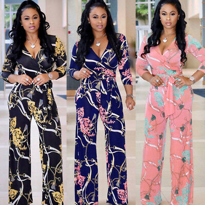 New Style Women V Neck Long Sleeve Jumpsuit Ladies Summer Casual Loose Playsuit
