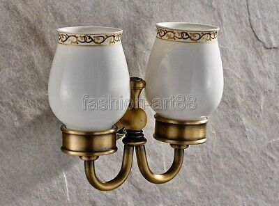 Antique Brass Wall Mounted Bathroom Toothbrush Holder Set Ceramic Cups fba495