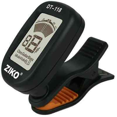 Ziko DT-118 Chromatic Guitar Tuner Clip on Pick Up LCD UK SELLER