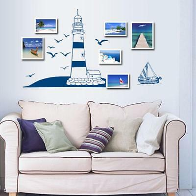 Removable Modern Lighthouse Sailboat Seagull PVC Art Wall Stickers Living Room