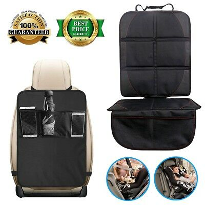[Dirty-Resistant] Auto Car Seat Cover and Kids Kick Mats with Backseat Organizer