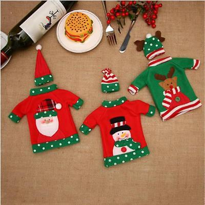 Snowman Santa Claus Elk Bottle Sets Cover Bags Christmas Wine Home Decoration MN