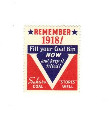 """A  Coal Mine Scatter Tag, Stamp, Label """" Sahara Coal Stamp """" Fill Coal Bins Now!"""