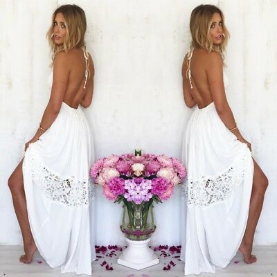 Summer Women Boho Lace Strap Long Maxi Dress Beach Holiday Party Casual Sundress