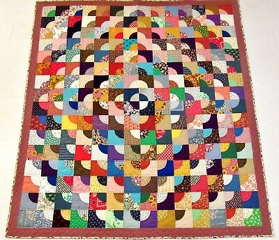 """Vintage Handmade Hand Stitched Signed Patchwork Pieced Lap Quilt - 64½"""" x 57"""""""