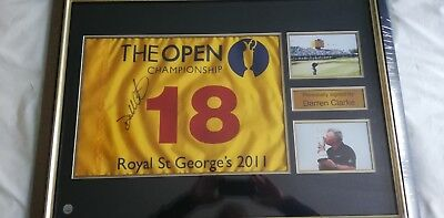 Darren Clarke Signed 2011 Open Pin Flag Deluxe