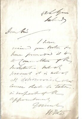 Sir William Tite - architect - very large rare book collection - 1869? letter