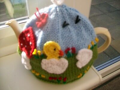 Hand Knitted Chick Tea Cosy  For A Medium 3-4 Cup Teapot