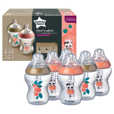6 x Tommee Tippee Closer to Nature Decorated Baby Bottles 260ml - Pink & Purple