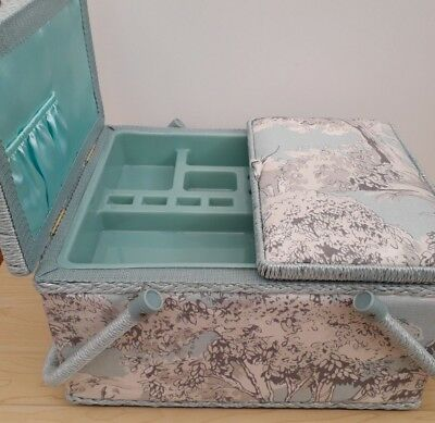 BNWT Manor Toile Design Fabric Large Premium Twin Lid Sewing Box by Hobby Gift