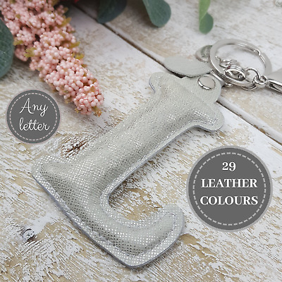 Handmade Letter Keychain Personalised Gift Real Leather Keyring Woman Fashion UK
