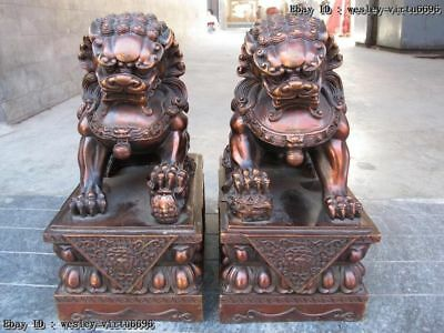 Chinese Feng Shui Red Bronze Copper Lucky Door Foo Dog Guardian Lion Statue Pair