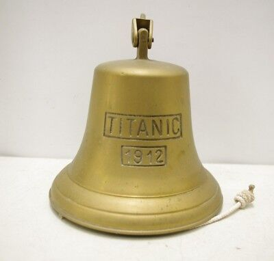 Large Brass Titanic Ship's Bell With Wall Mounted Bracket