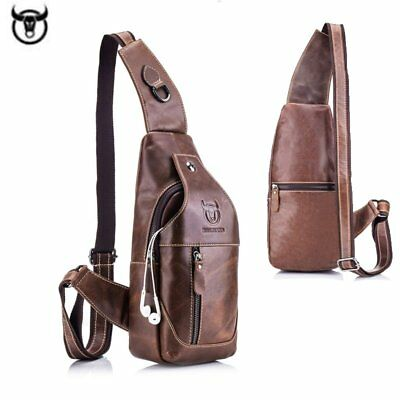 Men 100 % Genuine Leather Chest Sling Bag Shoulder Cross body Backpack Purse UK