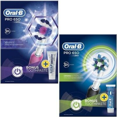 Oral-B pro 650 Crossaction Eléctrico Cepillo de Dientes Recargable Lote - Negro/