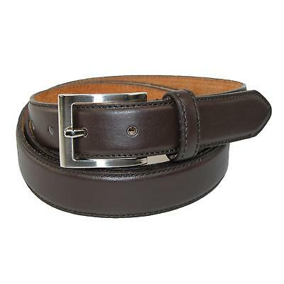 New CTM Men's Big & Tall Leather Basic Dress Belt with Silver Buckle