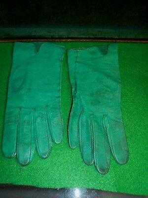 Vintage Women's Green Leather  Gloves,1930s