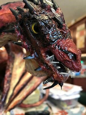 Paper Mache' Art OOAK Handmade Smaug on Lonely Mountain Sculpture