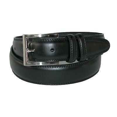 New Aquarius Men's Leather 32mm Double Keeper Padded Belt with Satin Buckle