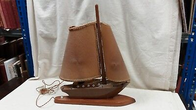 Vintage Art Deco Style Racing Yacht Lamp With Vellum Sails And Bakelite Fittings