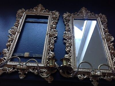 Pair Of vintage ornate wall mirror Solid Metal Gold Gilt