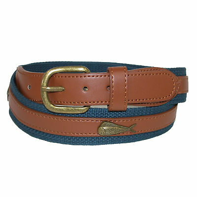 New CTM Men's Fabric Belt with Ribbon Overlay and Fish Conchos