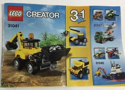 Lego Creator 3 In 1 Construction Truck Vehicle Instruction Manual