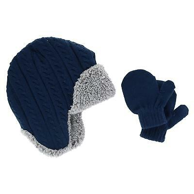 New CTM Infant Boy's 0-2 Trapper Hat with Sherpa Lining and Mitten Set