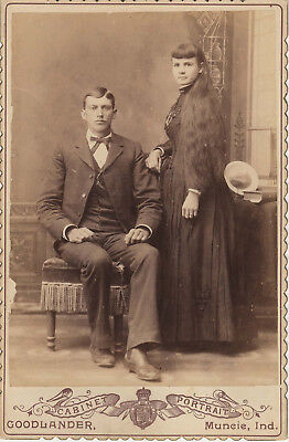Goodlander Cabinet Card of a Well-Dressed Couple ~ Woman with Long Hair