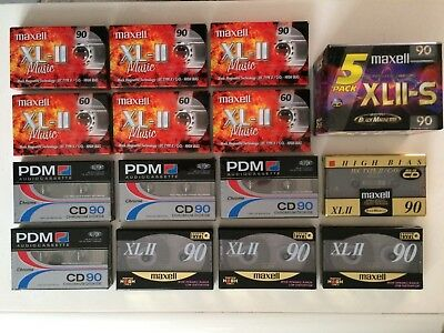 Lot 19 Cassettes Audio Maxell Xlii 90 & Pdm Cd90 Neuve