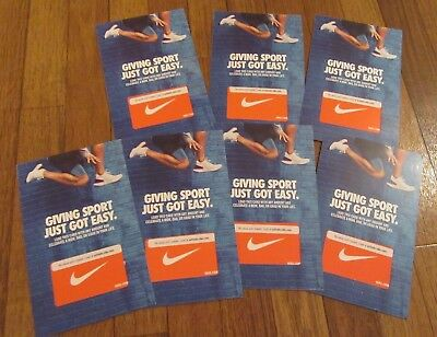 (Lot of 7) Nike Gift Card Collectible Orange With White Swoosh No Cash Value $0