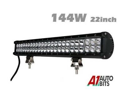 22 Inch 144W Spot Flood Combo Beam Led Work Light Bar Backup Reverse Offroad 4x4