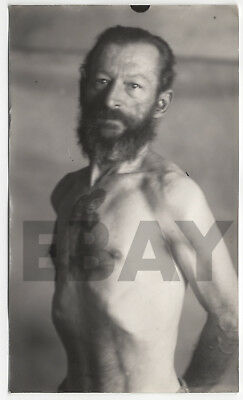 Vintage ca-1930s Photo Lot Gaunt Tattooed Tattoo Man Mugshot Mug Shot Louisville