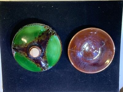 MCM Mid Century Modern Art Pottery Oil Lamp Trippy Glaze France French Abstract
