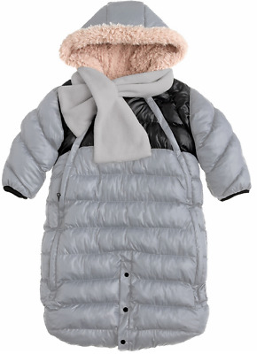 2536430a2 Bunting Bags 7AM Enfant Doudoune Infant Snowsuit, Grey Black Small (0-3M)