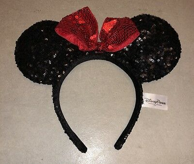 Disney Parks Disneyland  Minnie Mouse Sequins Ears  Headband Black With Red Bow