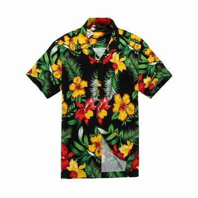 Matching Father Son Hawaiian Luau Outfit Aloha Shirt in Black with Yellow Floral