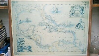 Xavier Tonneau hand Drawn, Signed Map of Central America and the Caribbean