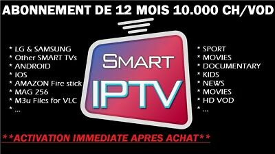 🔥SMART IPTV ABONNEMENT 12MOIS FULL HD SD +10000 CHAINES/VOD IOS Android,m3u,1an