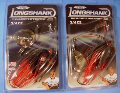 "Lot of 2 ""LONGSHANK"" 3/4 oz Spinnerbait -Black & Red SCN-052 Ray Brazier Edition"
