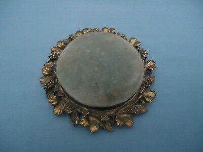 """Vintage Ornate 3D Floral Brass with Green Velvet Pin Cushion 4"""" Round"""