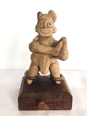 Ancient Pre-Columbian Colima Musician Whistle Figure c. 200 BC-200 AD
