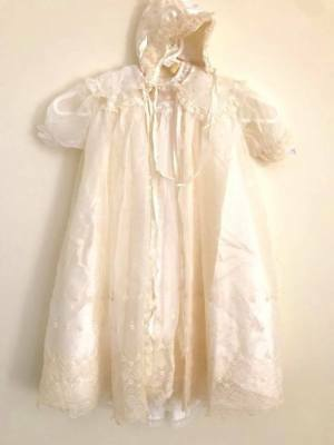 Christening Gown VTG Madonna Original 4 pc Embroidery Lace Baptism Outfit 0-6 mo