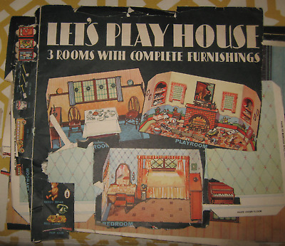 """1932 Whitman Publisher Co. """"let's Play House""""  3 Room Paper Doll House Incomplet"""
