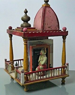 Large Antique/vintage Indian Sacred Hindu Home Temple / Altar. Pink, Red, Yellow